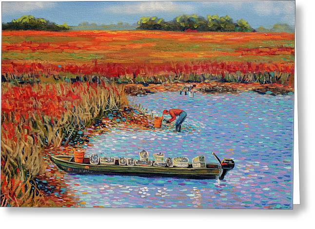 Oystermen At Folly Beach Greeting Card by Dwain Ray