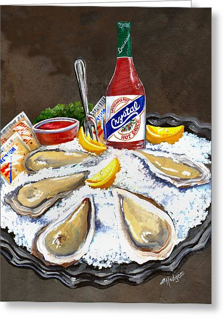 Oysters On Ice Greeting Card by Elaine Hodges