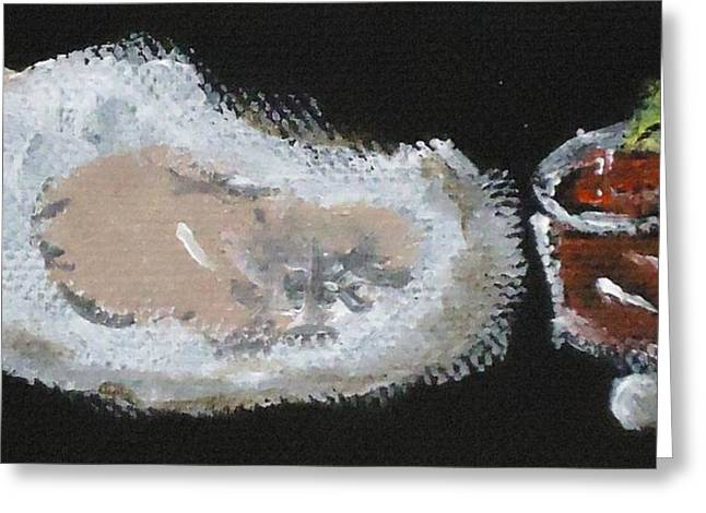 Oysters Yummy Greeting Card by Katie Spicuzza