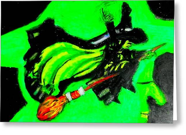 Oz Flying Wicked Witch  Greeting Card by Jo-Ann Hayden