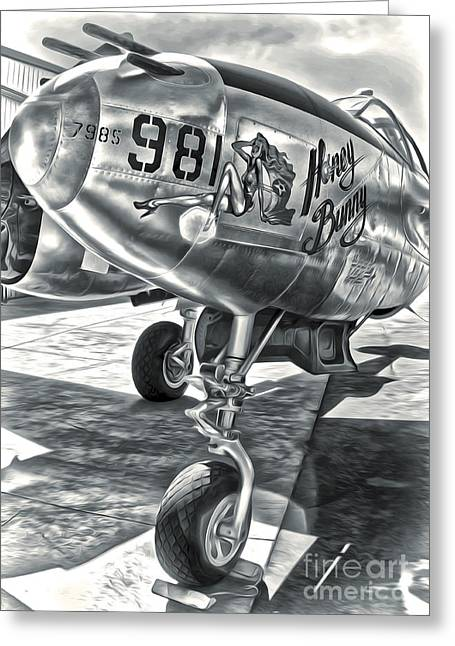 P-38 Airplane Greeting Card by Gregory Dyer