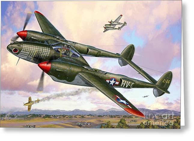 P-38f Lightning Sicilian Summer Greeting Card