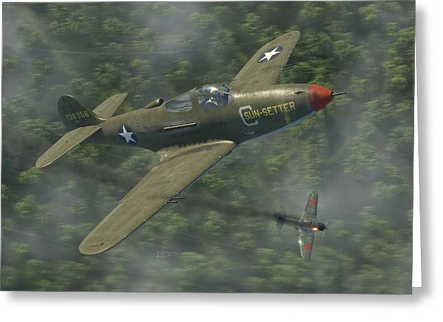 P-39 Airacobra Vs. Zero Greeting Card by Robert Perry