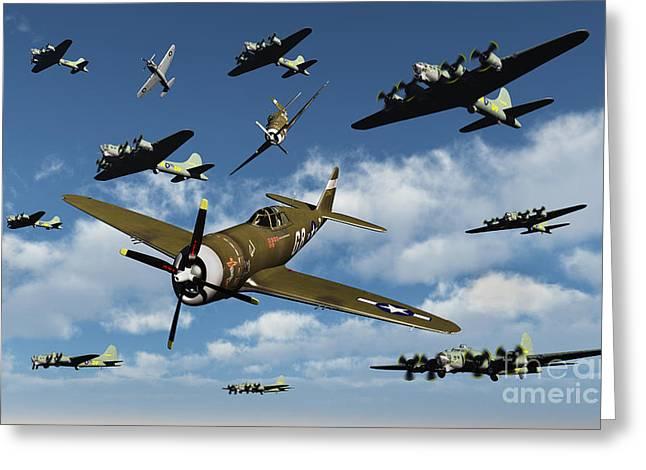 P-47 Thunderbolts Escorting B-17 Flying Greeting Card