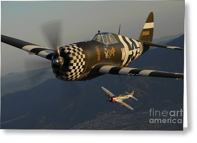 P-47 Thunderbolts Flying Over Chino Greeting Card by Phil Wallick