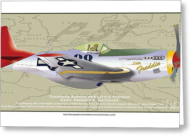 Greeting Card featuring the drawing P-51  by Kenneth De Tore