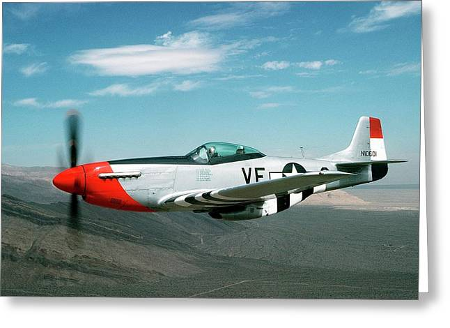 P-51 Mustang In Flight Greeting Card by Us Air Force