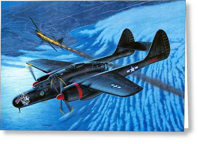 P-61 Black Widow  Caught In The Web Greeting Card