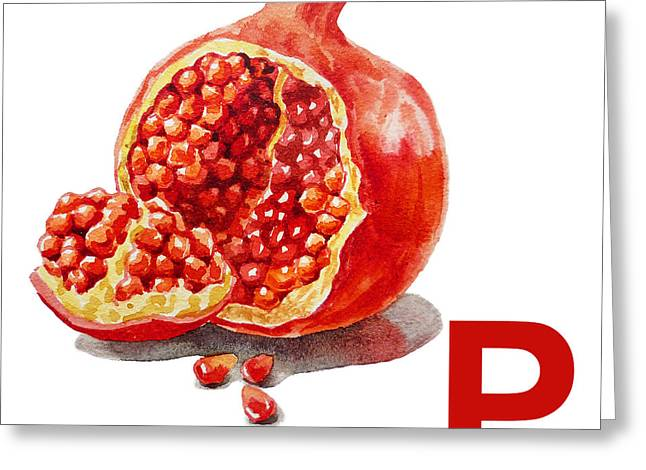 P Art Alphabet For Kids Room Greeting Card by Irina Sztukowski