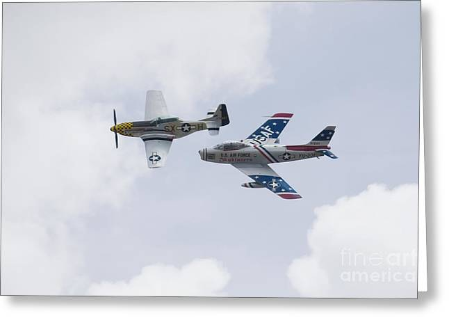 P51 And F86 Heritage Flight Greeting Card by Ules Barnwell