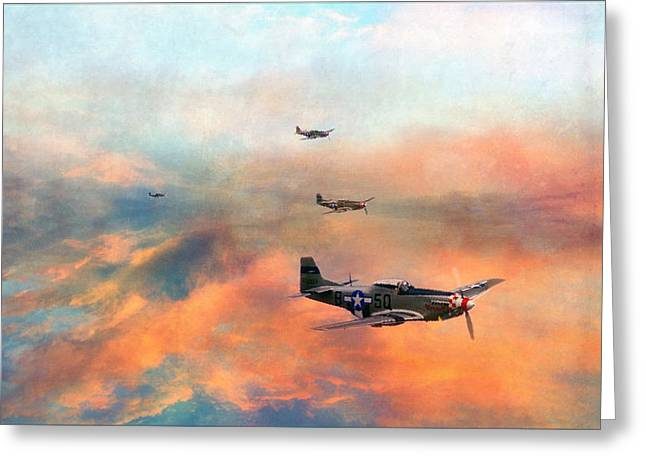 P51 Painted Greeting Card by Jason Green