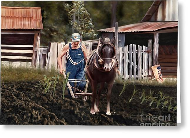 Pa Dee Plowing Greeting Card
