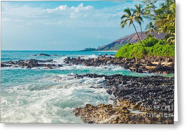 Paako Beach Blue Sensation Greeting Card by Sharon Mau