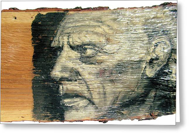 Pablo Picasso Face Portrait - Painting On The Wood Greeting Card by Nenad Cerovic