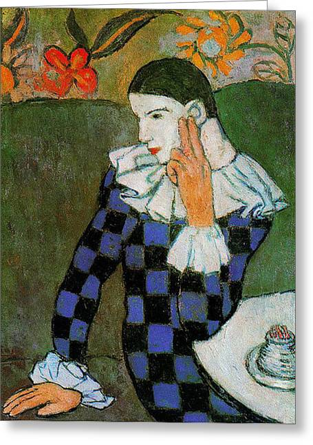 Pablo Picasso Harlequin Greeting Card