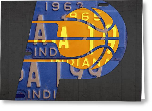 Pacers Basketball Team Logo Vintage Recycled Indiana License Plate Art Greeting Card by Design Turnpike