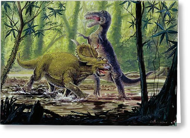 Pachyrhinosaurus And Theropod Fighting Greeting Card by Deagostini/uig