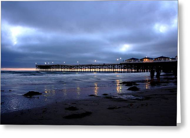 Pacific Beach Pier Greeting Card by Carrie Warlaumont