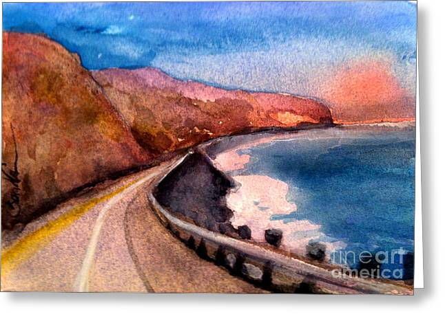 Pacific Coast Highway Greeting Card by Sandra Stone