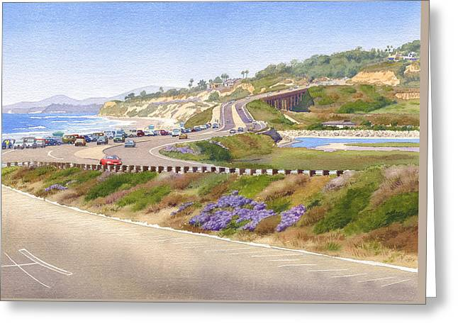 Pacific Coast Hwy Del Mar Greeting Card by Mary Helmreich
