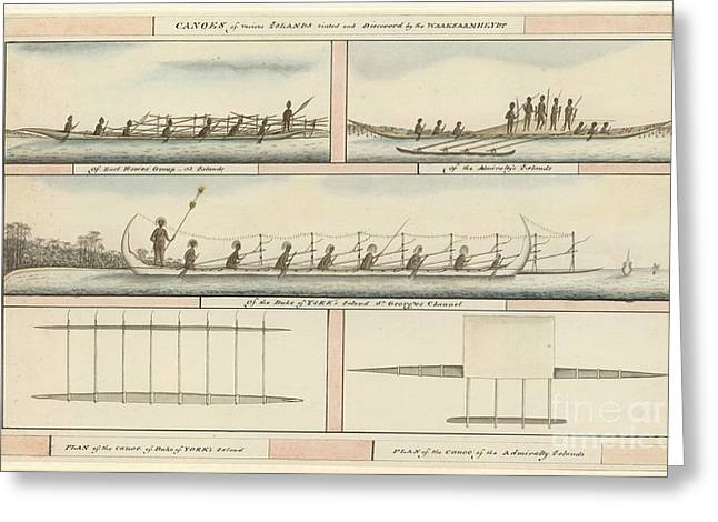 Pacific Island Canoes And Peoples, 1791 Greeting Card by Natural History Museum, London