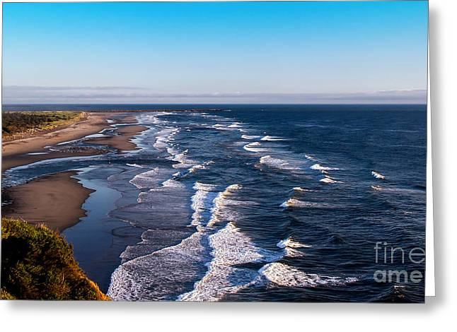 Pacific Ocean And The Columbia River Greeting Card by Robert Bales