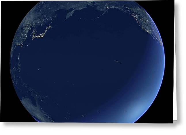 Pacific Ocean At Night Greeting Card by Planetary Visions Ltd/science Photo Library