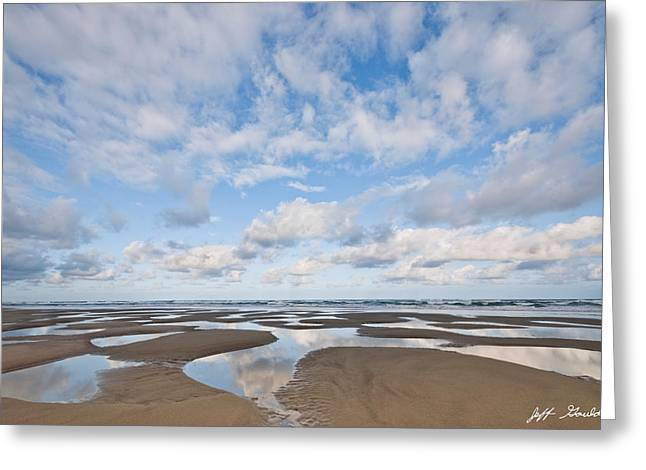 Pacific Ocean Beach At Low Tide Greeting Card