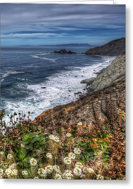 Pacific Ocean View From Devil's Slide Trail In San Mateo County California Greeting Card