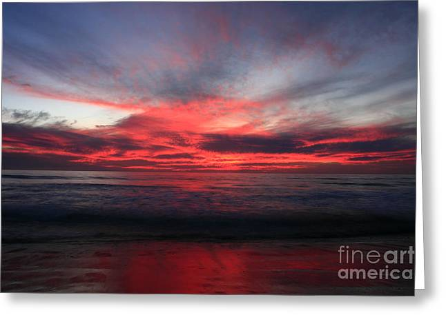 Greeting Card featuring the photograph Pacific Red Skyburst by John F Tsumas