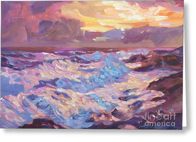 Pacific Shores Sunset Greeting Card by David Lloyd Glover