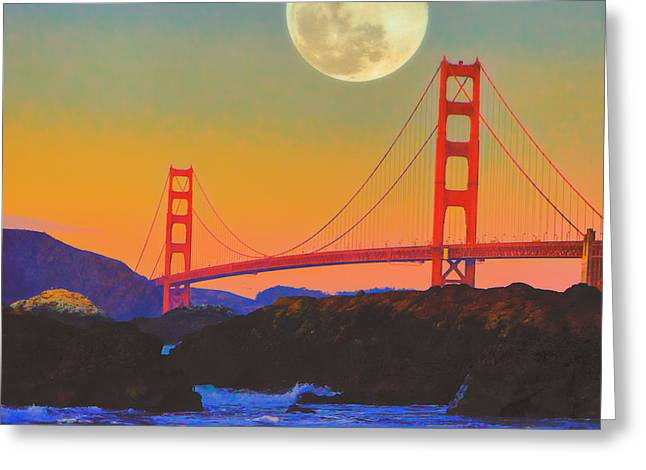 Pacific Sunset - Golden Gate Bridge And Moonrise Greeting Card