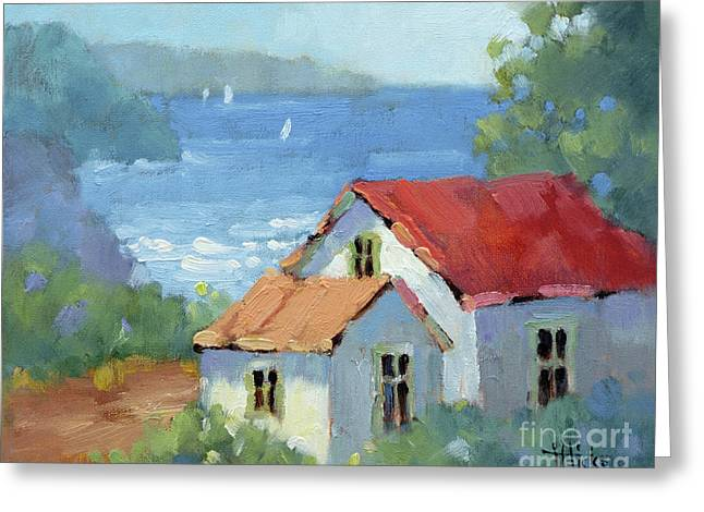 Pacific View Cottage Greeting Card by Joyce Hicks