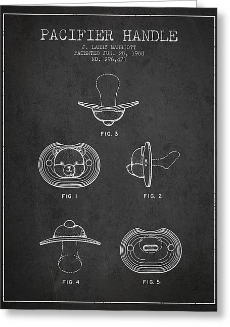 Pacifier Handle Patent From 1988 - Charcoal Greeting Card by Aged Pixel