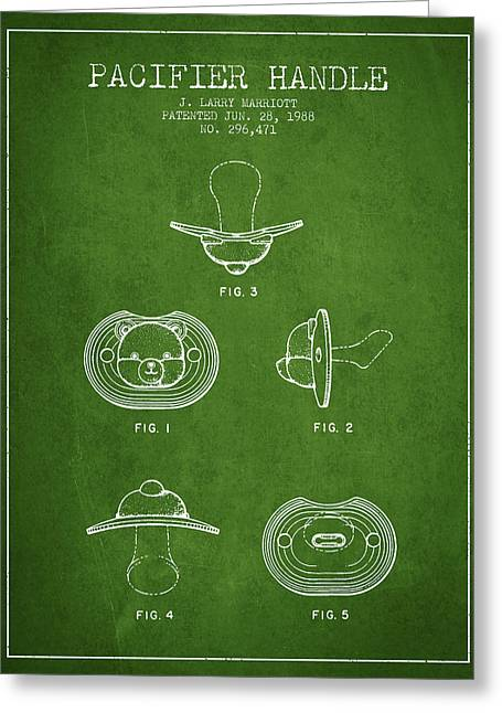 Pacifier Handle Patent From 1988 - Green Greeting Card by Aged Pixel