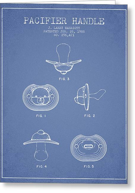 Pacifier Handle Patent From 1988 - Light Blue Greeting Card by Aged Pixel