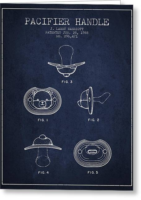 Pacifier Handle Patent From 1988 - Navy Blue Greeting Card by Aged Pixel