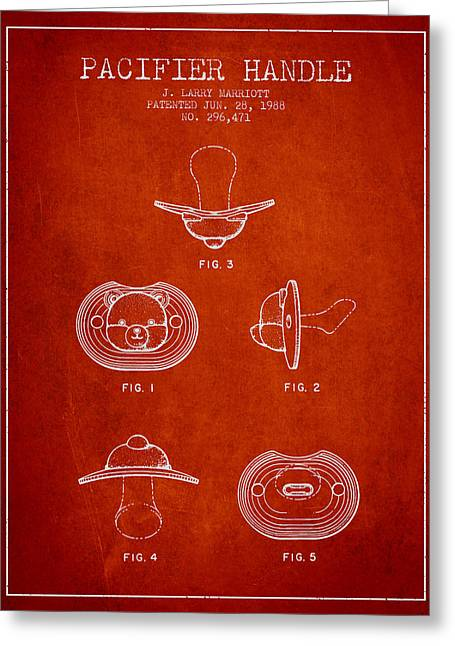 Pacifier Handle Patent From 1988 - Red Greeting Card by Aged Pixel