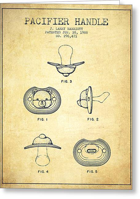 Pacifier Handle Patent From 1988 - Vintage Greeting Card by Aged Pixel
