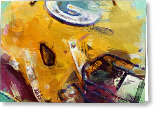 Packers Art Abstract Greeting Card by David G Paul