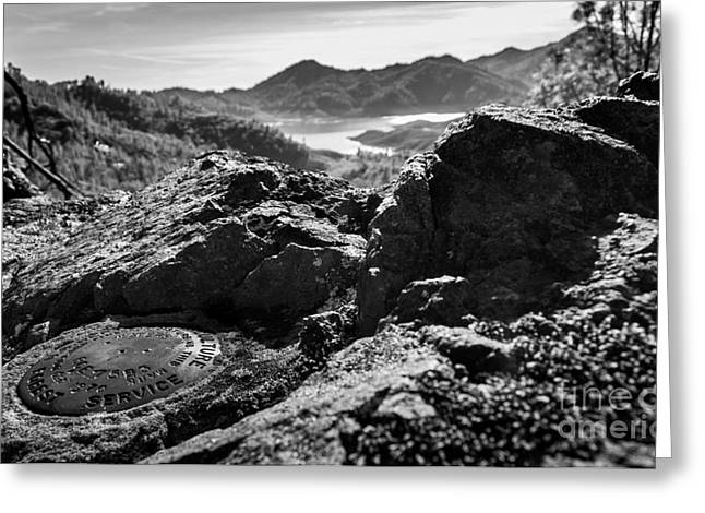 Packers Overlook Monochrome Greeting Card by Along The Trail