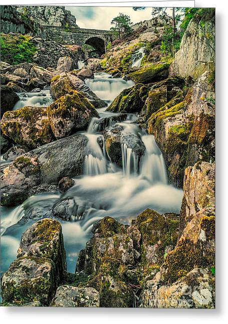 Packhorse Waterfall Greeting Card by Adrian Evans