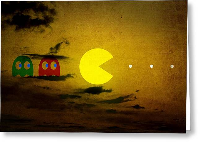 Pacman-scape Greeting Card by Filippo B