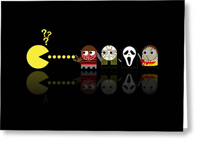 Pacman Horror Movie Heroes Greeting Card