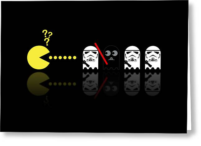 Pacman Star Wars - 1 Greeting Card by NicoWriter
