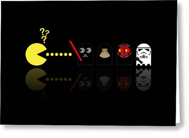 Pacman Star Wars - 2 Greeting Card