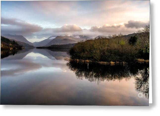 Padarn Lake Sunset Greeting Card by Adrian Evans