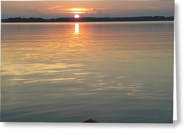 Paddle Board Sunset Greeting Card