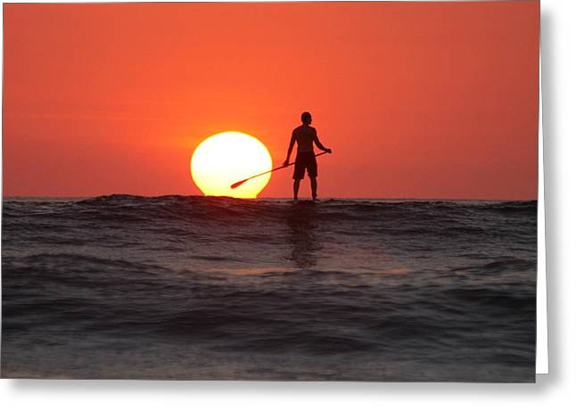 Paddle Board Sunset Greeting Card by Nathan Miller