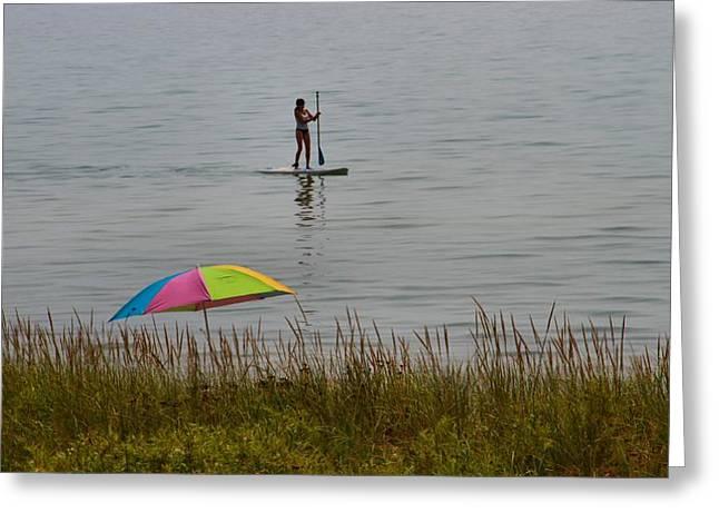 Paddle Boarding On Lake Michigan Greeting Card